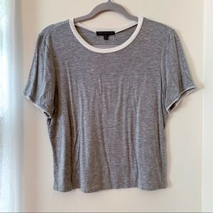 Grey Ringer Tee with Crochet Detailing